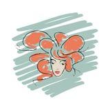 Vektorframsida av en ung flicka med röd krullning stock illustrationer