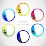 Vektorframstegalternativ ett, två, tre, fyra, fem, sex alternativ Arkivfoto