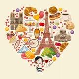 Vektorfransmanaffisch Sight av Paris och Frankrike Romantiskt turist- kort i tappningstil royaltyfri illustrationer