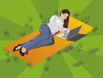 Vektorfrau mit Laptop Lizenzfreie Stockfotografie