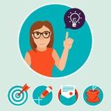 Vektorfrauencharakter mit Zeichen und Symbolen Lizenzfreie Stockbilder