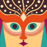 Vektorfrauengesicht in der orientalischen Art Lizenzfreies Stockbild