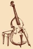 Vektorfreihandzeichnenzeichnung Kontrabass mit einem Bogen Stockfoto