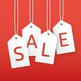 Vektorförsäljningsillustration Pappers- prislappar för hänga Royaltyfri Bild