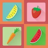 Vektorfrucht-Ikonensatz Lizenzfreies Stockfoto