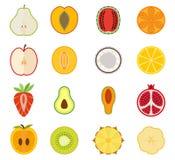 Vektorfruchtikone stellte - Birne, Pfirsich, Aprikose ein Stockbilder
