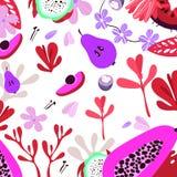 Vektorfrukter och örter Plana ecofrukter för illustration royaltyfri illustrationer