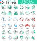 Vektorfrukter och grönsaker sänker linjen översiktssymboler för apps och rengöringsdukdesign Frukter och grönsakmatsymbol vektor illustrationer