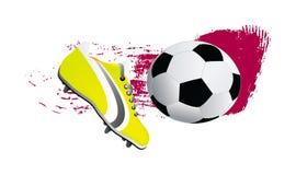 Vektorfußballschuh und -kugel Stockfoto