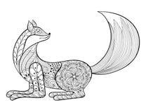 Vektorfuchs Übergeben Sie gezogenem Zentangle künstlerisches Tier für erwachsene antis vektor abbildung