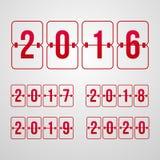 vektorfunktionskort 2016, 2017, 2018, 2019, 2020 år röda flipsymboler Royaltyfria Foton