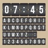 Vektorfunktionskortklocka, svartvita flipnummer och alfabet Arkivfoton