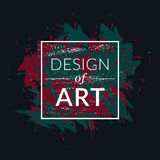 Vektorfyrkantram med bakgrund för målarfärgborste och textdesign av konst Grön och röd färg för abstrakt räkningsdiagram Arkivfoto