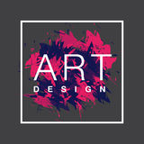 Vektorfyrkantramen med bakgrund för målarfärgborsten och textkonst planlägger Abstrakta räkningsdiagramblått och rosa färgfärg Arkivbilder