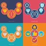 Vektorgamificationsymboler i plan stil Arkivfoto