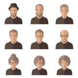 Vektorgamla människor framsida Royaltyfri Foto