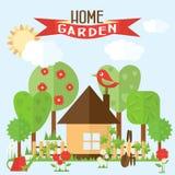 Vektorgartenillustration in der flachen Art Garten um das hous Stockbild