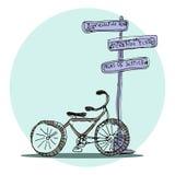 Vektorgator av Paris cykel illustratören för illustrationen för handen för borstekol gör teckningen tecknade som look pastell til Royaltyfria Foton