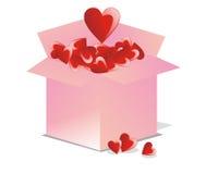 Vektorgeöffneter Kasten voll Liebe Lizenzfreies Stockbild