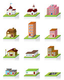 Vektorgebäude-Ikone -- Abbildung 3D Stockfotos