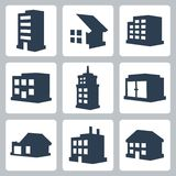 Vektorgebäudeikonen eingestellt Stockfoto