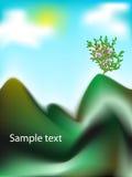 Vektorgebirgslandschaft mit Bäumen Stockfotos