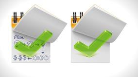 Vektorgeöffneter Notizblock mit Ikone der Checkmarkierung XXL Lizenzfreies Stockbild