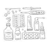 Vektorgekritzel eingestellt: Tabletten, Pillen, Drogen, Hustensirup, nasale Tropfen, Thermometer, Medizintropfenzähler Stock Abbildung