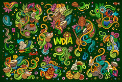 Vektorgekritzel-Karikatursatz indische Designe Stockfotos