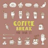 Vektorgekritzelsatz Hand gezeichnete Kaffeeelemente Süßes Hörnchen und ein Tasse Kaffee im Hintergrund Stockfotos