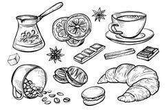 Vektorgekritzelsatz Kaffeezeichnungen, Stockbilder