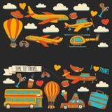 Vektorgekritzelsatz Reise und Transport Autoflächen-Hubschrauber Ballon versenden Lizenzfreie Stockfotografie
