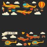 Vektorgekritzelsatz Reise und Transport Autoflächen-Hubschrauber Ballon versenden Lizenzfreies Stockfoto