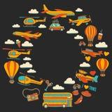 Vektorgekritzelsatz Reise und Transport Autoflächen-Hubschrauber Ballon versenden Stockfotografie