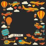 Vektorgekritzelsatz Reise und Transport Autoflächen-Hubschrauber Ballon versenden Stockfotos