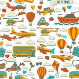 Vektorgekritzelsatz Reise und Transport Autoflächen-Hubschrauber Ballon versenden Lizenzfreies Stockbild