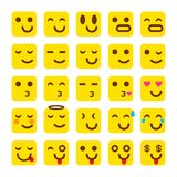 Vektorgelb Satz Lächelnikonen Emoji emoticons Lizenzfreie Stockbilder