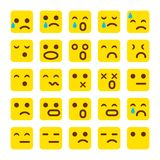 Vektorgelb Satz Lächelnikonen Emoji Emoticons stellen gegenüber, traurig, Vektorillustration Stockfoto