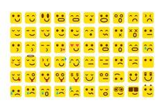 Vektorgelb Satz Lächelnikonen Emoji Emoticons stellen gegenüber, vector Illustration Lizenzfreies Stockbild