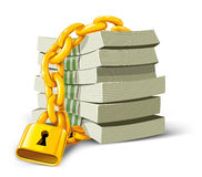 Vektorgeld mit der Goldverriegelung getrennt Lizenzfreie Stockbilder