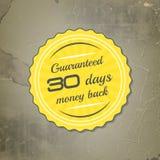 Vektorgeld-Rückseitenaufkleber auf einem Retro- Schmutzhintergrund Lizenzfreies Stockfoto