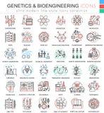 Vektorgenetik och biokemi färgar framlänges linjen översiktssymboler för apps och rengöringsdukdesign Hög genetikkemikalie royaltyfri illustrationer