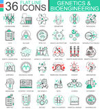 Vektorgenetik och biokemi sänker linjen översiktssymboler för apps och rengöringsdukdesign Tekniskt avancerad genetikkemikalie royaltyfri illustrationer