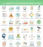 Vektorgenetik och plan symbolsuppsättning för bioengineering Design för elegant stil stock illustrationer