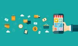 Vektorgeschäftsbewegliches on-line-Einkaufen auf tragbarem Gerät Lizenzfreie Stockfotos