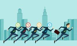 Vektorgeschäftsleute wettbewerbsfähig mit Geschäftszeit Stockfotos