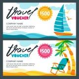 Vektorgeschenk-Reisegutscheinschablone Konzept für Sommerferien und Reisebüro Tropeninsel, Yacht und Palmen lizenzfreie abbildung