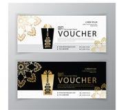 Vektorgeschenkgutscheinschablone Universalflieger für Geschäft Sauberes Vektordesign, schwarze Goldgestaltungselemente sauber Lizenzfreie Stockbilder
