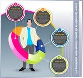 Vektorgeschäftshintergrund mit Diagramm und Manager Stockfoto