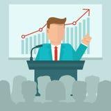 VektorGeschäftskonferenzkonzept in der flachen Art Stockfotografie